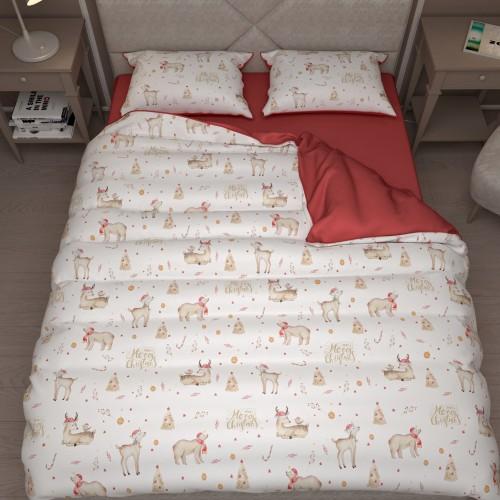 Комплект постельного белья с эксклюзивным принтом. Египетский хлопок. Новогодний